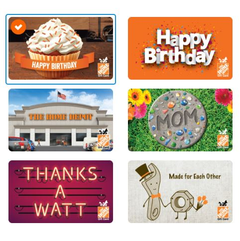 home depot physical gift card